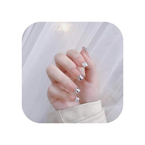 24 Stück gefälschte Nägel Douyin White Ladder Drill Girl Ins Künstliche Mehrfarbige Spitze Braut Falsche Nägel Selbstklebende Tipps-196-