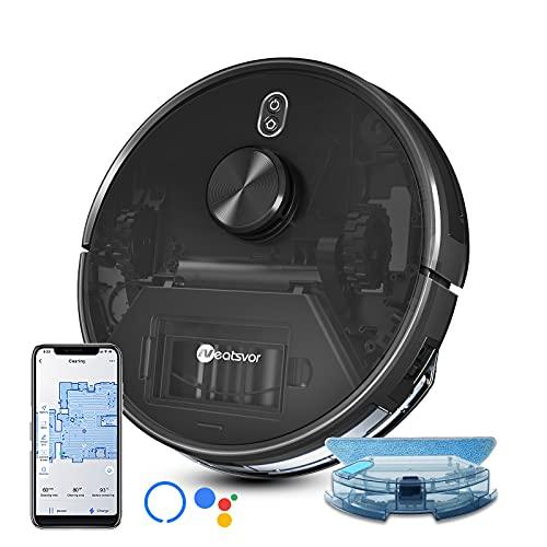 Robot Aspirador y Friegasuelos,con Navegación Láser, 4000Pa. Aspira, Barre, Friega y Pasa la Mopa, para Suelos Duros y Mascotas, App, Alexa y Google Home
