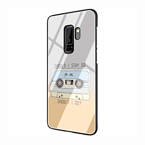 Should Stay Should Stranger Things Tempered Glass TPU Black Cover Case for Samsung Galaxy S7 Edge S8 S9 S10 Plus (G5,for Galaxy S10 Plus)