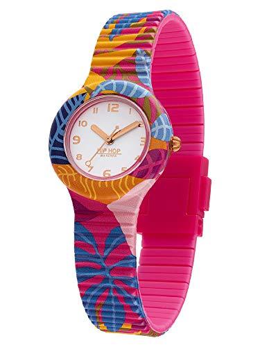 Hip Hop - Reloj de mujer Tropical Dream, esfera monocromática, movimiento solo hora, 3H, cuarzo y correa de silicona estampada multicolor HWU1043