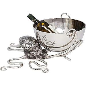 Kare Design Weinkühler Octopus, Aluminium vernickelt, Silber, Tintenfisch Weinkühler, Flaschenkühler edel