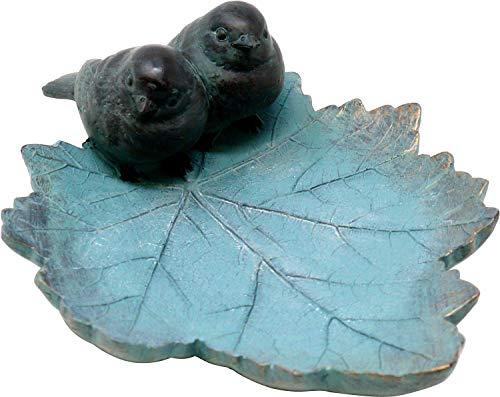 Vogeltränke Blatt mit Spatzenpaar, türkis, 25 cm, Vogel-Tränke Trinkschale Vogelbad Garten Tränke