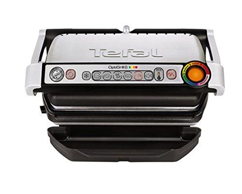 Tefal OptiGrill+ GC712D Kontaktgrill (Plus-Modell mit zusätzlichen Temperaturstufen, 2.000 Watt, automatische Anzeige des Garzustands, 6 voreingestellte Grillprogramme) schwarz/silber