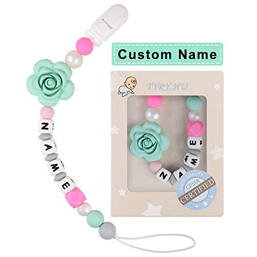 Pacifier Clip Personalized Name TYRY.HU Girls Binky Holder Baby Silicone Paci (Green Rose)
