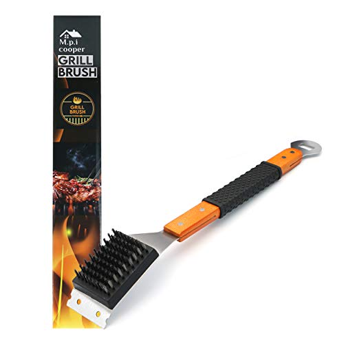 M.P.I cooper Grill Cleaning Brush and Scraper, Best BBQ Wire Bristles Brush for Grill Cleaning, Long Wooden Rubber Handle for Comfortable Safe and Strong Grip with Bottle Opener Tool