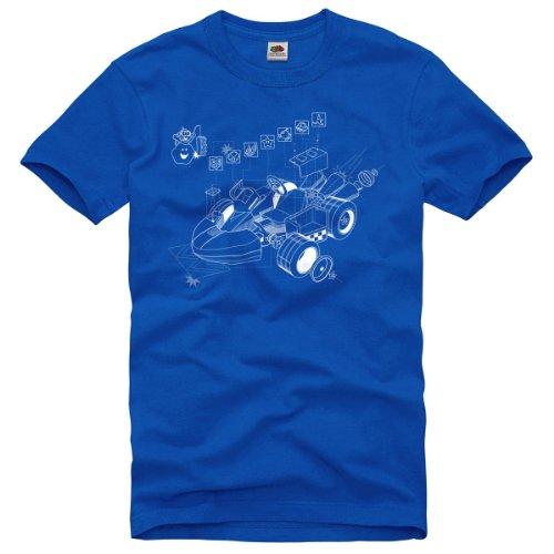 style3 Kart Mario Homme T-Shirt Snes n64 wii u Super Zelda Jeux vidéo Course de Karting, Taille:M;Couleur:Bleu