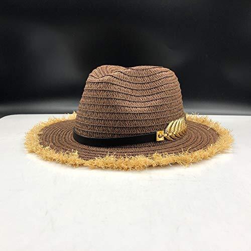 TSP Sombrero de verano para mujer, de rafia, para playa, informal, de paja de Panamá, para hombre, gorra de visera de sol, gorra masculina, sombrero de sol para mujer (color: café paja panamá)