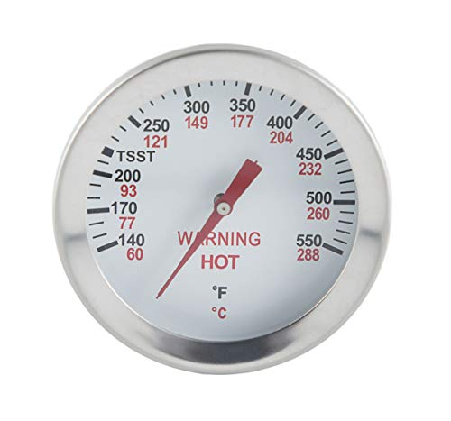 Broilmann LT225R Grill Thermometer for Big Green Egg, Grill Dome, Kamado Replacement Thermometer, 2 inch dial, 5 inch stem F Heat Indicator, Heat Gauge Fit XXLarge, XLarge, Large, Medium, Small