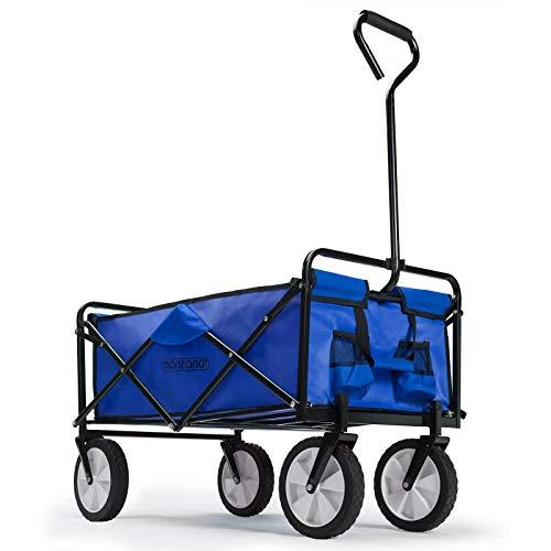 Deuba Chariot de Transport Pliable Bleu - Charrette à Main Chariot de Jardin