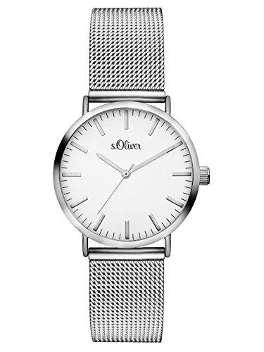 s.Oliver Damen Analog Quarz Armbanduhr mit Edelstahlarmband SO-3270-MQ
