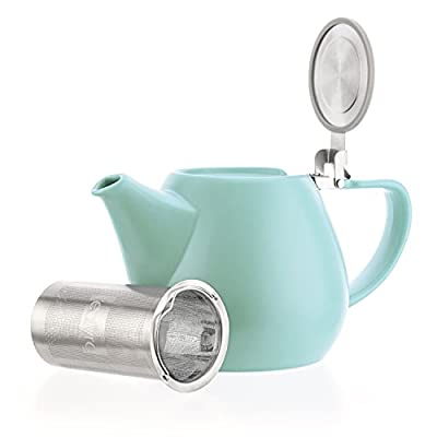 Tealyra - Jove Porcelain Large Teapot Turquoise - 34.0-ounce (3-4 cups) - Japanese Made - Stainless Steel Lid and Extra-Fine Infuser To Brew Loose Leaf Tea - 1000ml