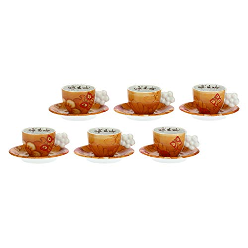THUN ® - Set 6 Tazzine caffè - Linea Savana Story - Porcellana - 100 ml - Ø 6,5 cm - 5,5 cm h - piattino Ø 11,5 cm