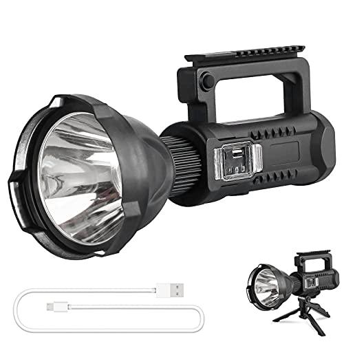 LED Handscheinwerfer Wiederaufladbar, Super Hell 8000 Lumen Led Taschenlampe, 4 Modi Wasserdicht Led-taschenlampen für Outdoor, Abenteuer, Wandern, Notfall, mit Akku