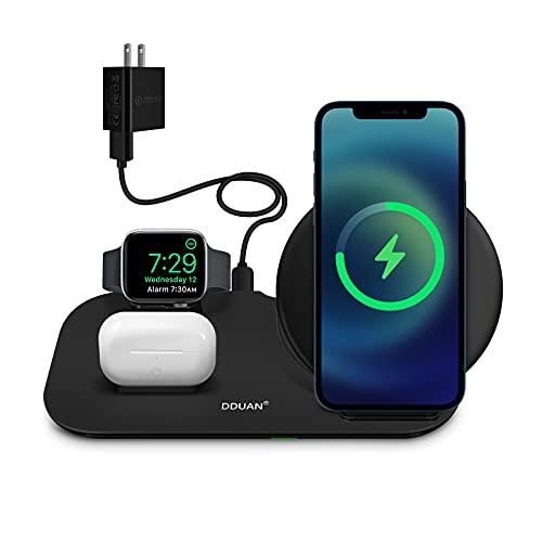 Cargador inalámbrico, 3 en 1 Estación de Carga Qi de Apple para la Serie Watch,AirPods Pro / 1/2,Soporte de Carga inalámbrica Compatible con iPhone 12 11 XR/XS 8 Series (Adaptador 18W Incluido)