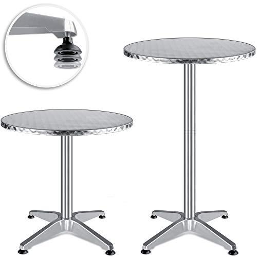 KESSER® - 2in1 Stehtisch Bistrotisch Aluminium Edelstahlplatte | höhenverstellbar | 70cm / 115cm | Partytisch Tisch Ø 60cm | In- & Outdoor | Hochzeit | Empfangstisch | 4 Standfüße, Silber