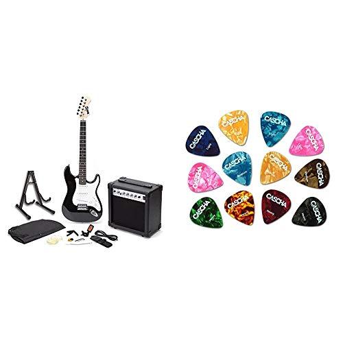 RockJam voller Größe E-Gitarre Superkit mit Gitarrenverstärker Gitarrensaiten Gitarrentuner Gitarrengurt schwarz & CASCHA Set mit 12 Plektren, Plektrum für Akustikgitarre, E-Gitarre, Ukulele