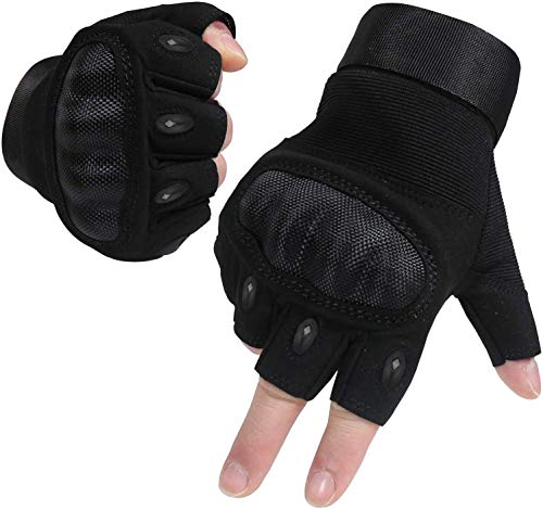 Half Finger Gloves for Men and Women Hard Knuckle Gloves for Outdoor Sports and Work Suitable for Cycling Motorcycle Hiking Climbing Lumbering Heavy Industry (Half Black, Large)