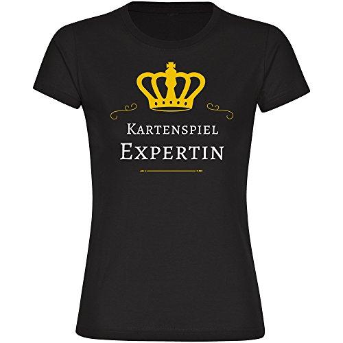 Damen T-Shirt Kartenspiel Expertin - schwarz - Größe S bis 2XL, Größe:M