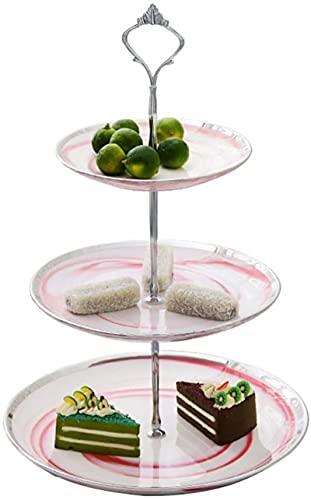 Rack de postres - Cerámica - Hogar - Estilo Europeo - Tres Pisos - Dos Colores - Bandeja de Frutas - Pastel de Pastel - Tetera Tea Snack Rack (Color: E)
