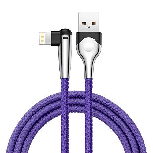 Cable de carga iP en ángulo recto, Baseus, cable trenzado de nailon de 1 m, codo de 90 grados, conector iP, cable de transmisión de datos de carga rápida. 3.3ft-Luz LED azul