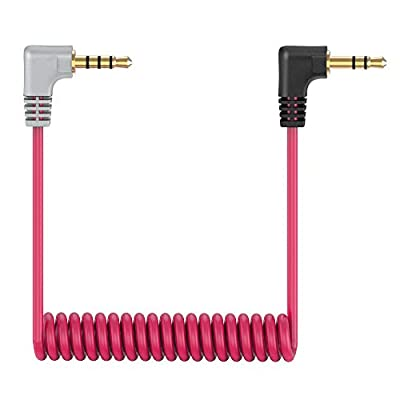 """3.5mm TRS to TRRS Microphone Cable, 1/8"""" Male Coiled Right Angle Mic Cord Connect iPhone, Smartphone, Tablets Compatible with Rode SC7, VideoMic, VideoMicro Go, BOYA and More External Microphone"""