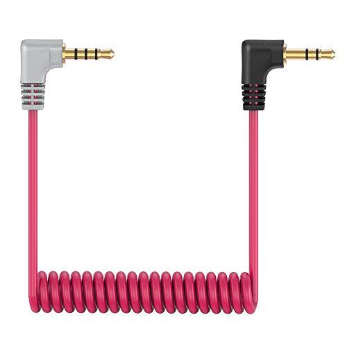 3,5-mm-TRS-zu-TRRS-Mikrofonkabel SC7, Gewickeltes Rechtwinkliges Mikrofonkabel von Stecker zu Stecker Verbinden Sie Smartphone, Tablets mit Rode VideoMic, VideoMicro, BOYA Mikrofon etc