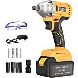 GardenJoy 21V MAX Power Impact Wrench Cordless Brushless 1/2 in.Impact Driver/Drill with 4.0A Li-ion Battery,2200RPM Variable Speed,Max Torque 260 ft-lbs,Fast Charger and 10PC Tools -5 Years Warranty