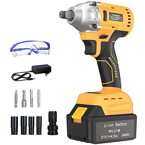 GardenJoy Cordless Power Impact Wrench: 21V Electric Impact Drill with 4.0A Battery Brushless Motor...