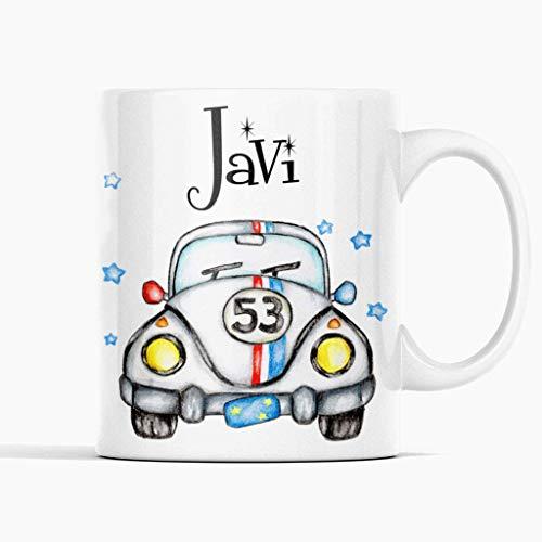 Anian Taza regalo infantil coche Herbie- Taza personalizada con tu nombre - Regalo de navidades - Regalo de reyes - Taza de cerámica 350ml.