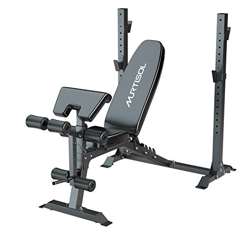 Murtisol Olympic Weight Bench, 5-Level Adjustable for Weight-Lifting&Full-Body Workout, 265lbs Weight Capacity, for Home use Indoor, Black