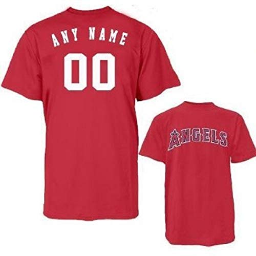 Majestic Athletic Custom (Add Name/#) Adult Large Replica Jersey with Los Angeles Angels Red