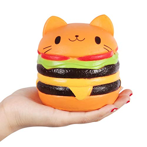 Anboor 4.5' Squishies Jumbo Slow Rising Kawaii Squishies Cat Hamburger Bread Toy for Collection Gift