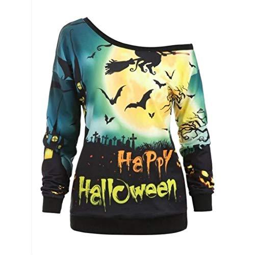 Alwayswin Halloween Kostüm Frauen Beiläufiger Langarm Bluse Lose Druck Sweatshirt Plus Größen Oberseiten Kapuzenpullover mit Tunnelzug Tops Mode Wild Pullover Vintage Tuniken