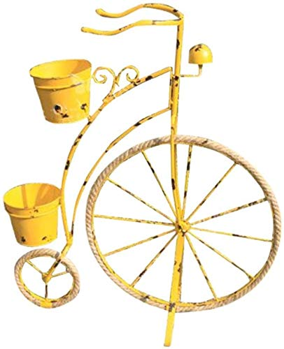 Stand di fiori SLL- Fiore Stand Rustico Retro Ferro Biciclette Modeling Fiore Stand del Galleggiante antiquariato della Decorazione della Bicicletta Bar for Finestra (Color : Yellow)