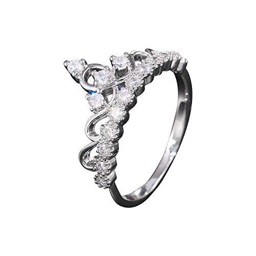 Javntouy - Juego de anillos de boda para mujer, diseño de corona de plata 925, color blanco, anillos de boda 6-10