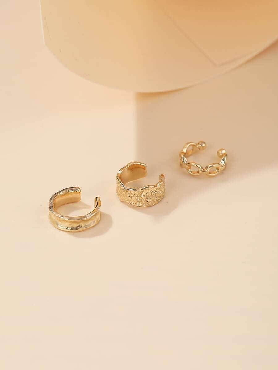 ANBF Hoop Earrings 3pcs Minimalist Ear Cuff (Color : Gold)