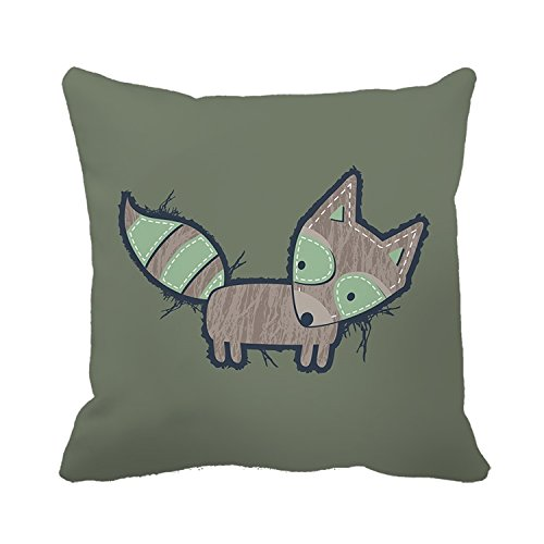WY-Pillow Warrantyll le Little Fox rétro Home Coton décoratif Coussin carré Taie d'oreiller, Coton, Color 1, 18*18