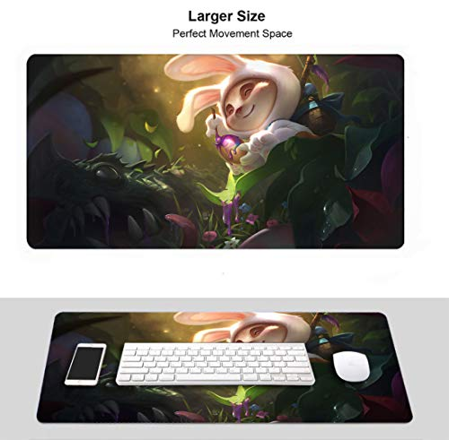 Extended Size Professional Gaming Mouse Pad for League Legends, Stitched Edges Ultra Thick 3Mm (Champion Teemo Cottontail)