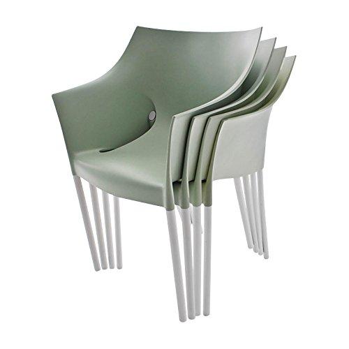 Dr. No - Set de 4 fauteuils (même coloris) vert fenouil/polypropylène/structure aluminium