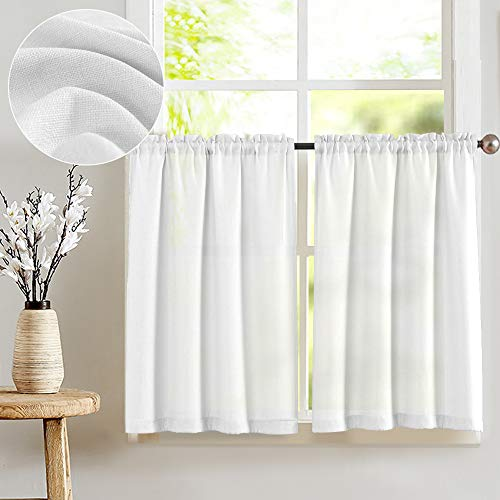 JINCHAN White Kitchen Curtains Semi Sheer Short Curtains for Small Window Weave Cafe Curtains 24 Inch Length Tier Curtains 2 Panels