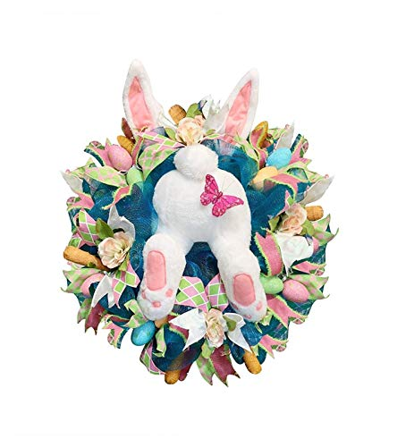 ZYuan Easter Rabbit Wreath Decor for Front Door Wreath, Easter Rabbit Front Door Wreath, Easter Thief Bunny Butt with Ears, Rabbit Shape Garland Wall Decor Easter Decorations (Color : F)