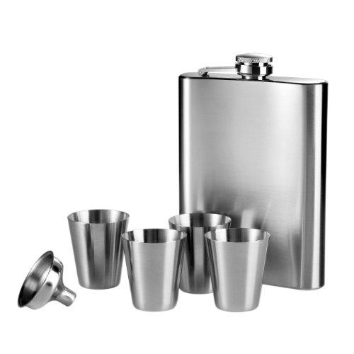 Premiere Housewares 508270 Set Fiaschetta, 4 Coppe ed Imbuto in Acciaio Inox, 207 ml