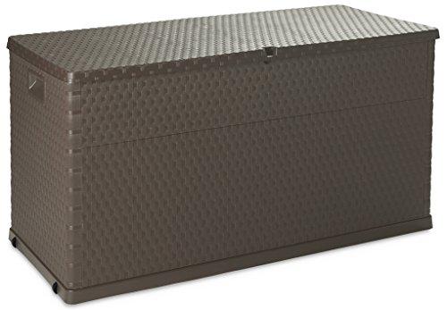 Toomax Baule Multibox da Esterni, plastica Imitazione Rattan, Art. 162, 420L capacità, Dim cm 120x56x63h, Colore Marrone
