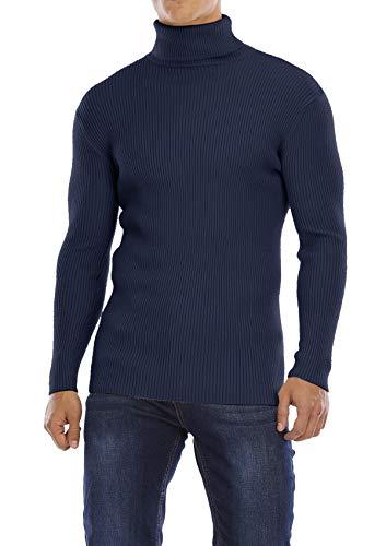 Yidarton Herren Pullover Strickpullover Rollkragen Slim Fit Männer Winter Basic Rollkragenpullover Langarmshirt Pulli (Marine, Medium)