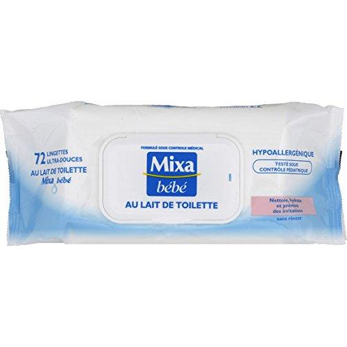 Mixa - Bébé Lingettes ultra-douces au lait de toilette, sans rincer Le paquet de 72 lingettes( Prix Unitaire ) - Envoi Rapide Et Soignée