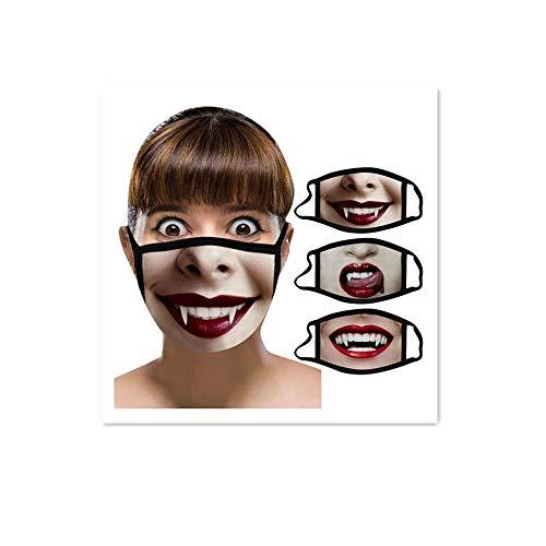 Jasinto 3 Pcs Mundschutz für Damen Herren, Anti-Staub Nasenschutz Halstuch Multifunktionstuch für Radfahren, Laufen, Waschbar & wiederverwendbar Nasen und Lippen Schutz, Halloween Vampir Drucken