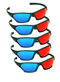5 PAIRS - 3D Red Cyan Anaglyph Plastic Classic Glasses Acrylic Lenses