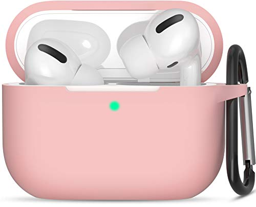 SATLITOG Case Designed for AirPods Pro, Protective Silicone Cover with Keychain Compatible with Apple AirPods Pro (Front LED Visible) - Pink