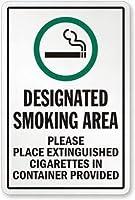 注意サイン-指定喫煙エリア消火したタバコは容器に入れてください。通知のためのインチ通りの交通危険屋外の防水および防錆の金属錫の印