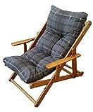 Poltrona Sedia Sdraio Relax 3 Posizioni in Legno Pieghevole Cuscino Imbottito H 100 CM Colore Come Foto (Grigio pio)